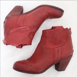 Sam Edelman Lisle Ankle Boots Red Leather 6.5
